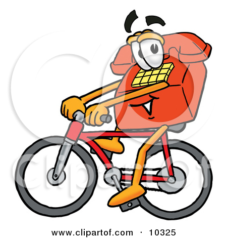 Clipart Picture Of A Red Telephone Mascot Cartoon Character Riding A