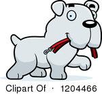 Cute Bulldog Puppy Dog Carrying A Leash Royalty Free Vector Clipart
