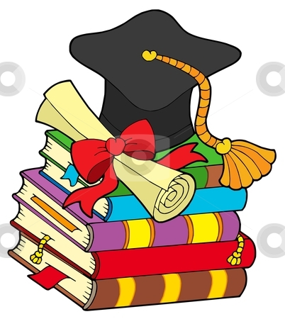 Graduation Hat On Pile Of Books Stock Vector Clipart Graduation Hat