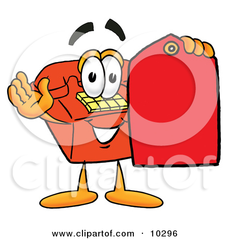 Red Telephone Mascot Cartoon Character Holding A Red Sales Price Tag