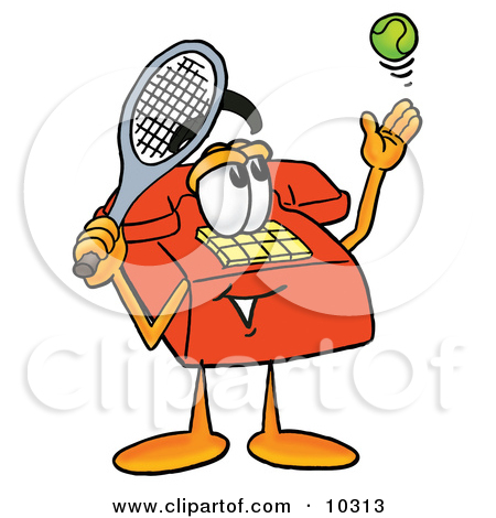 Red Telephone Mascot Cartoon Character Preparing To Hit A Tennis Ball