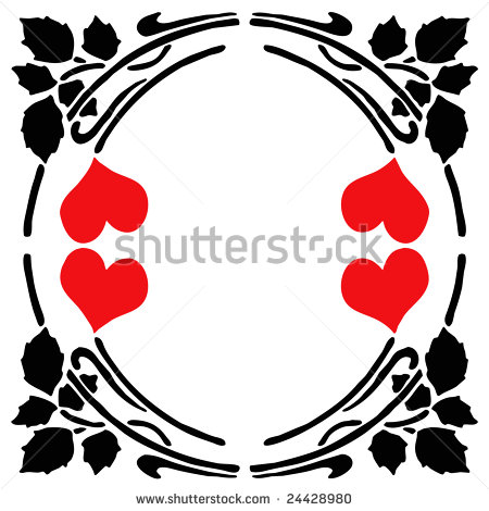 Abstract Black Silhouette Flower And Red Heart Clip Art Stencil Design