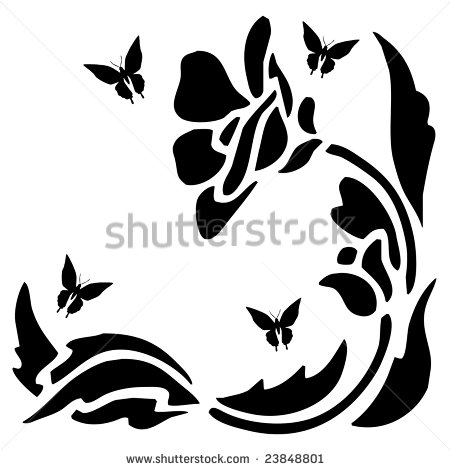 Black Silhouette Of Butterflies Flowers And Stem And Leaves As A