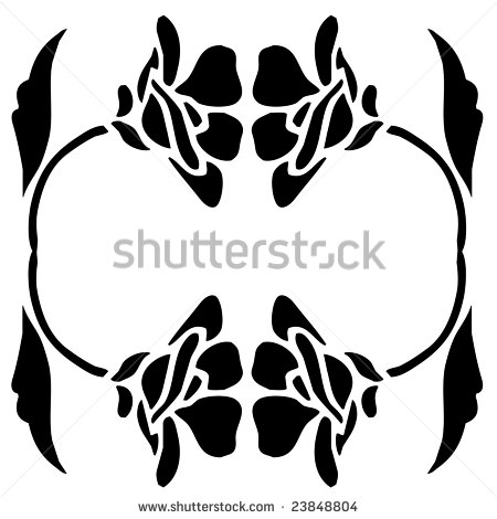 Black Silhouette Of Flowers Leaves And Stem As A Frame Border Clip