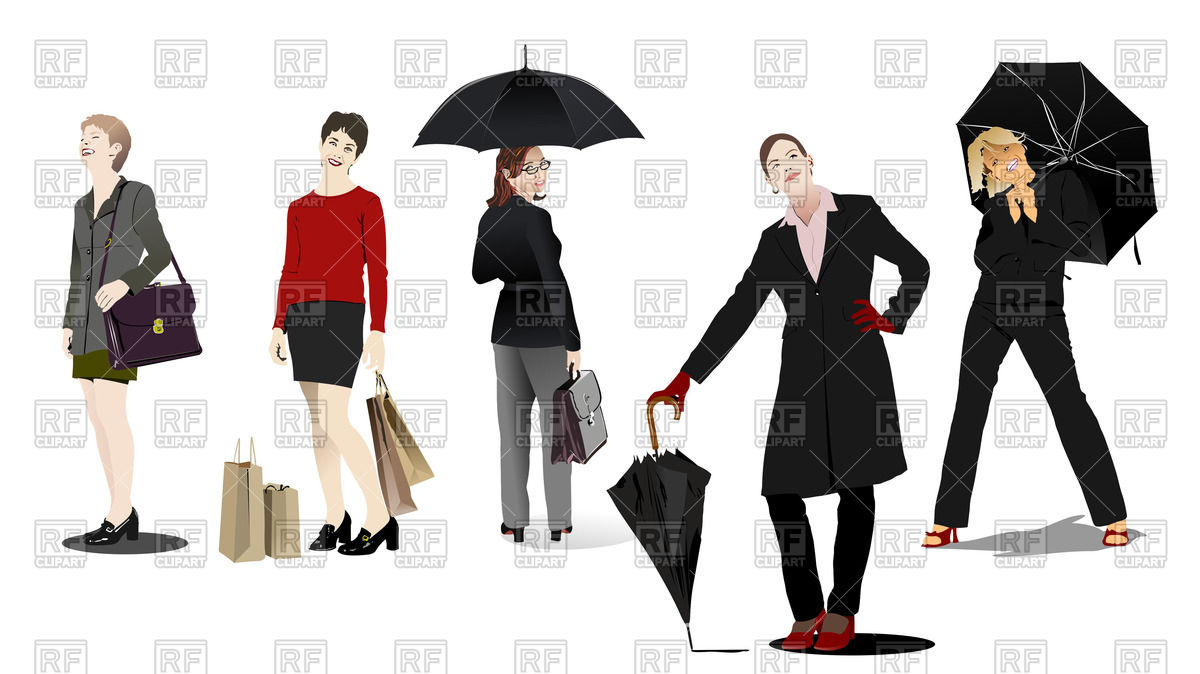Business Women And Girls With Umbrella In Casual Clothing 54037