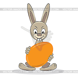 Cartoon Funny Easter Rabbit With Egg   Vector Clipart