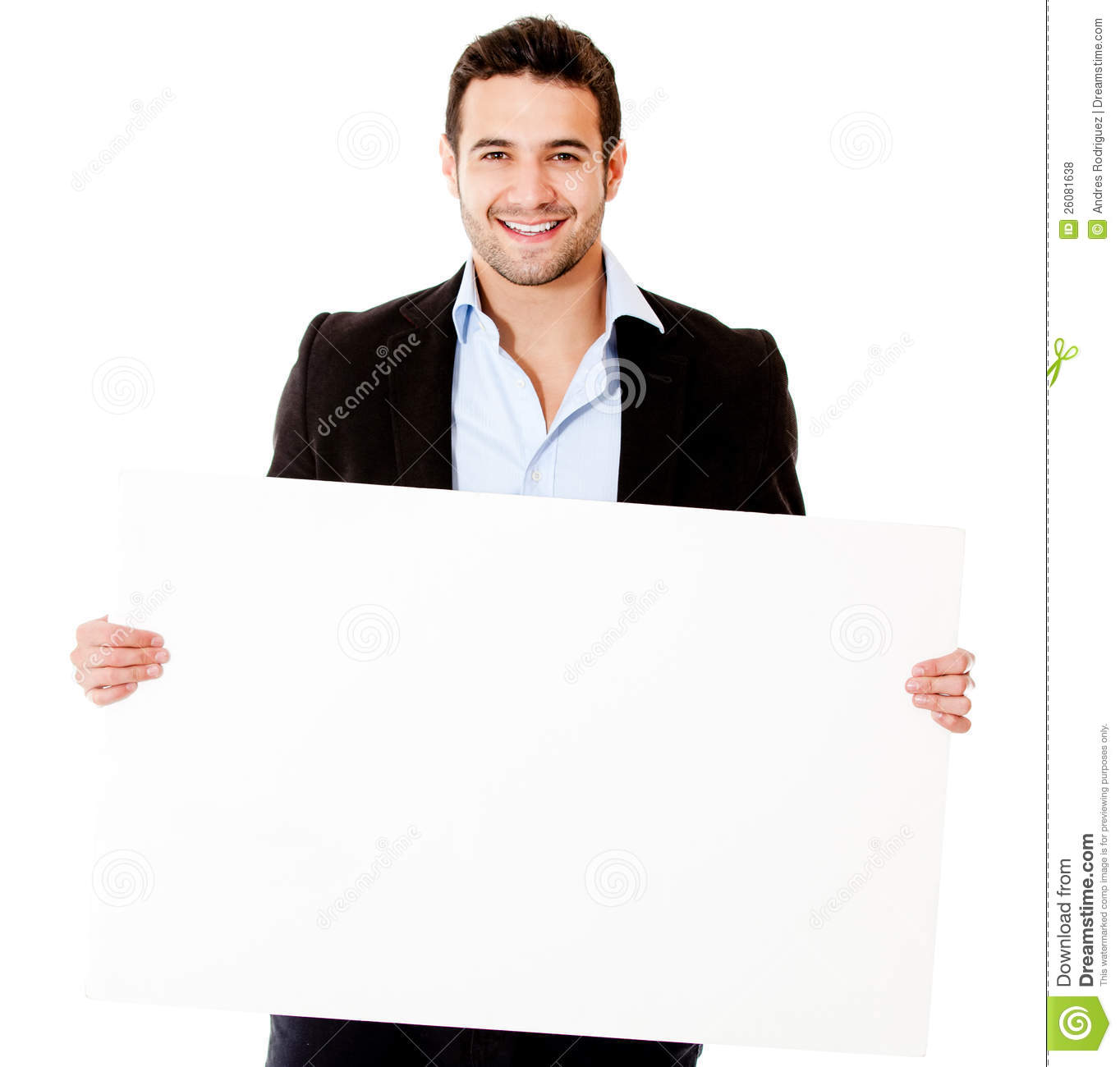 Casual Business Man With A Banner Royalty Free Stock Photos   Image
