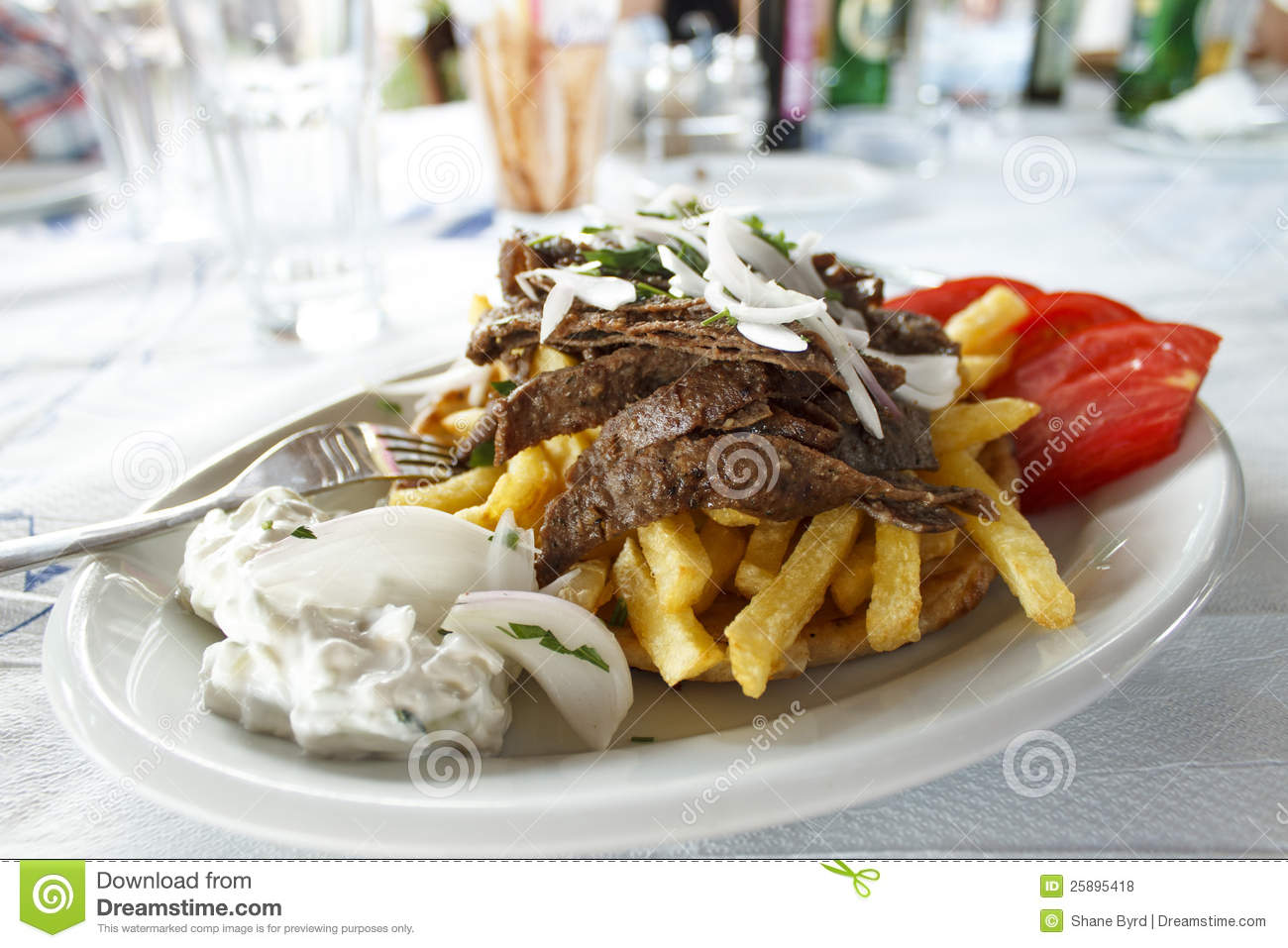 Delectable Gyro With Pork Plate Garnished With Onions And Other