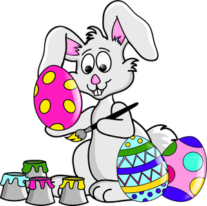 Easter Bunny Clipart Image   The Easter Bunny Hard At Work Painting