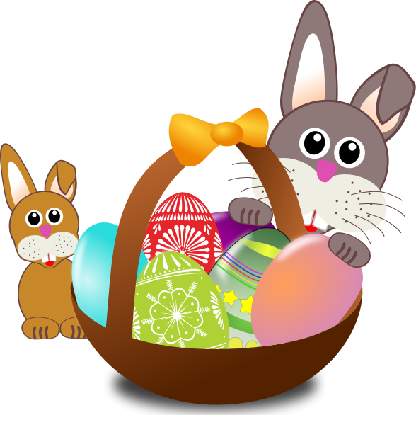 Free Easter Basket With Easter Bunnies Clip Art