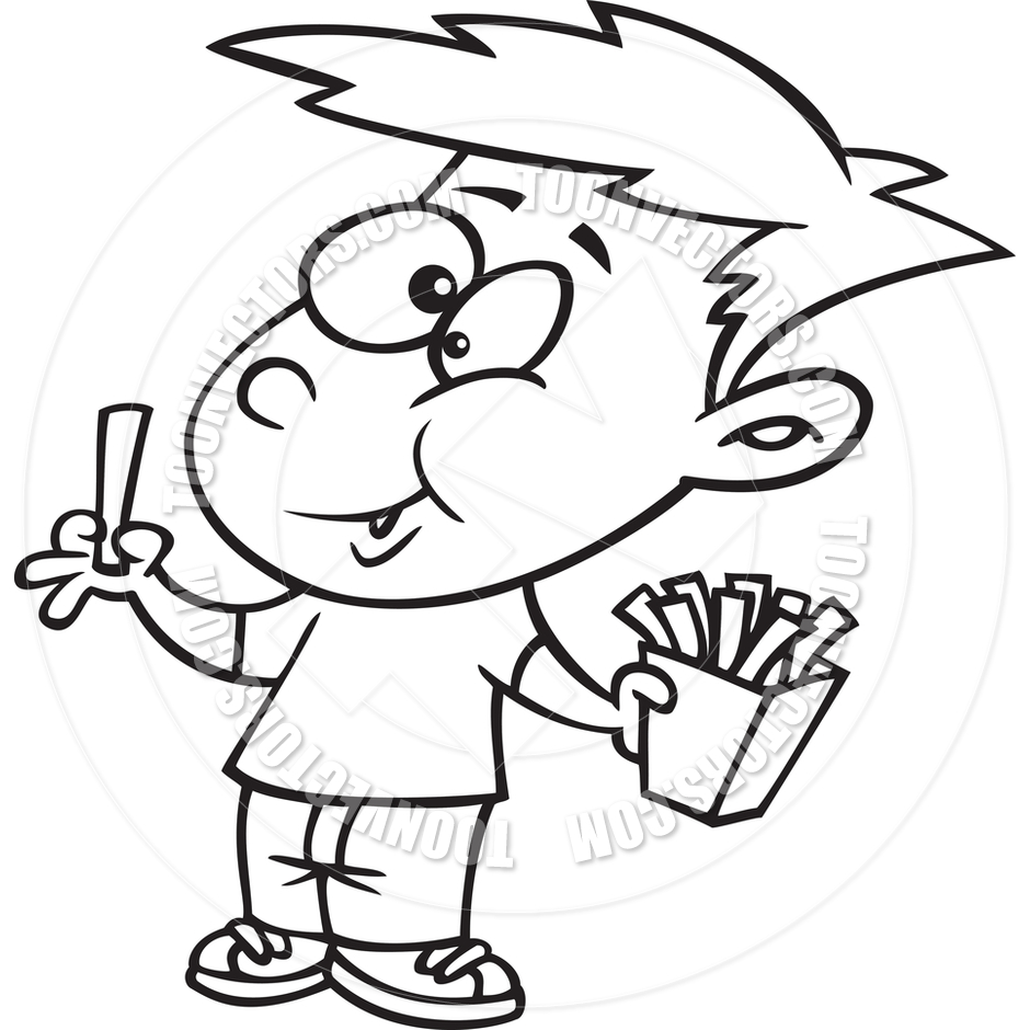 French Fries Clipart Black And White Eating French Fries  Black