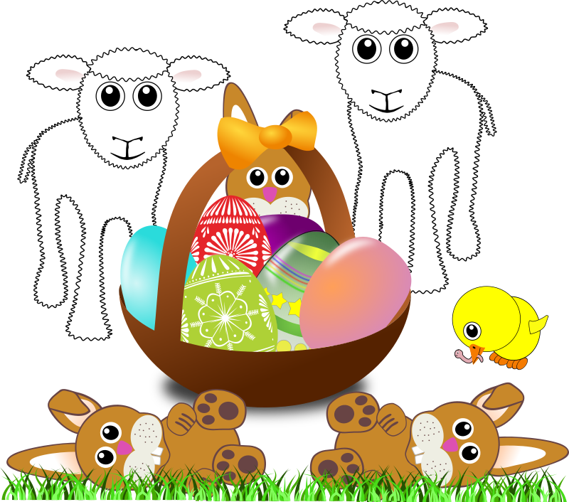 Funny Lambs Bunnies And Chick With Easter Eggs In A Basket By