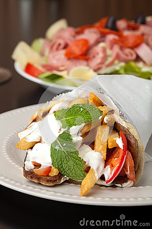 Greek Gyro And Antipasto Salad Royalty Free Stock Image   Image