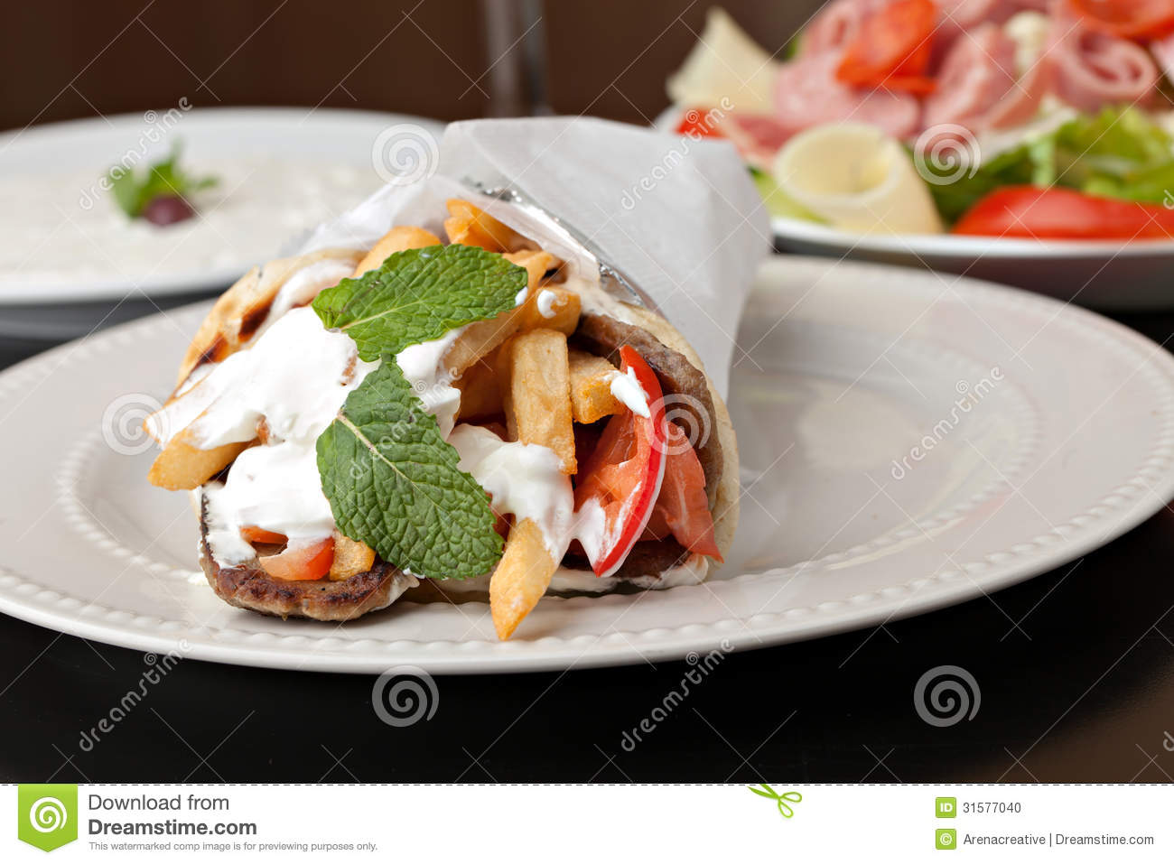 Greek Gyro Wrap Stock Photo   Image  31577040