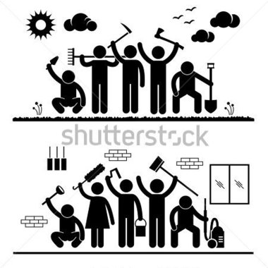 Group Cleaning Outdoor Park Indoor House Stick Figure Pictogram Icon