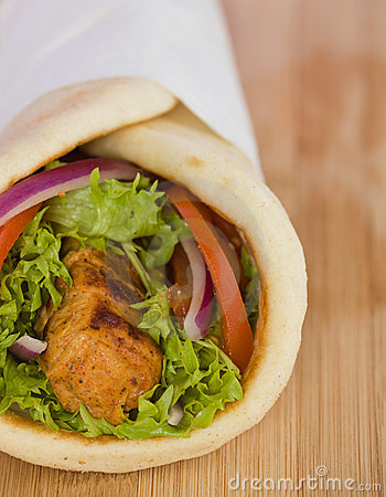 Gyros Pita Sandwich With Chicken Souvlaki Meat And Vegetable  Very
