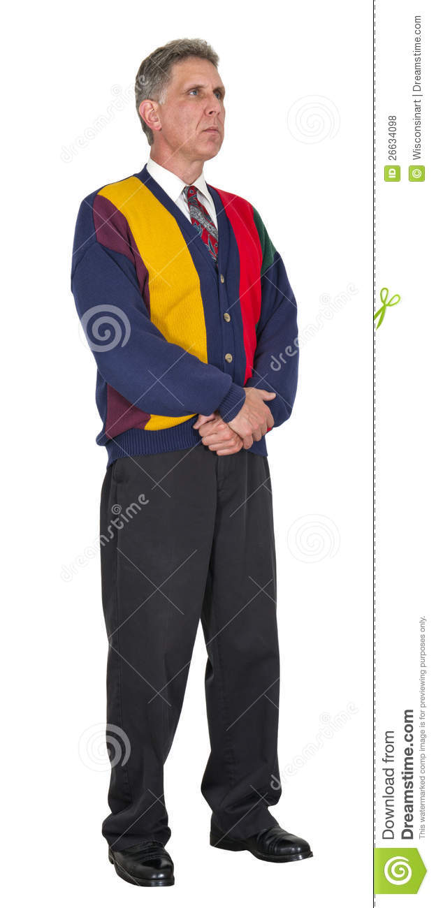 Middle Aged Male Dressed In A Colorful Sweater And Business Casual