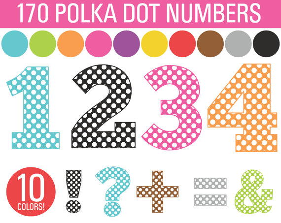 Polka Dot Numbers Symbols Bundle 170 Numbers Commercial Use Clip Art