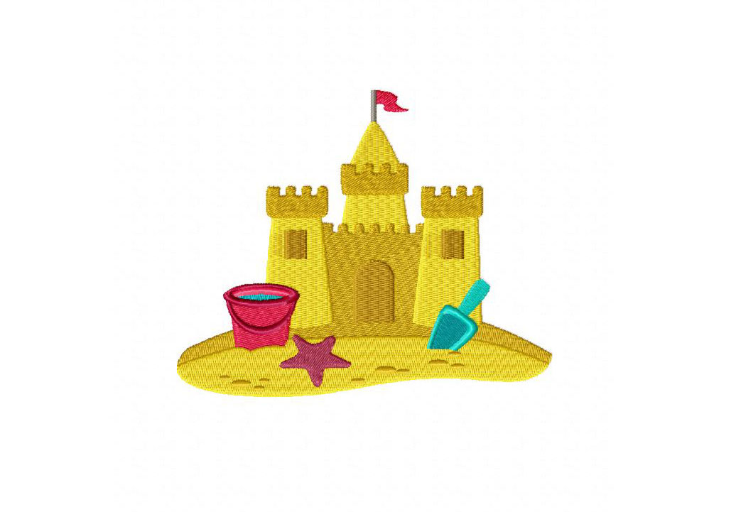Sand Castle Machine Embroidery Design   Daily Embroidery