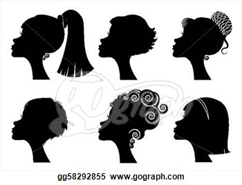 Vector Illustration   Women Face With Different Hairstyles   Vector