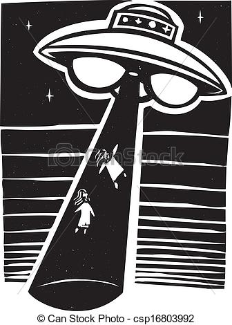 Vectors Of Alien Abduction Night   Alien Awoodcut Style Image An Alien