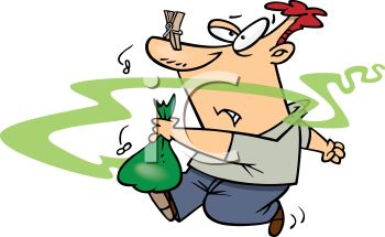 3017 5247 Cartoon Of A Guy Taking Smelly Garbage Out Clipart Image