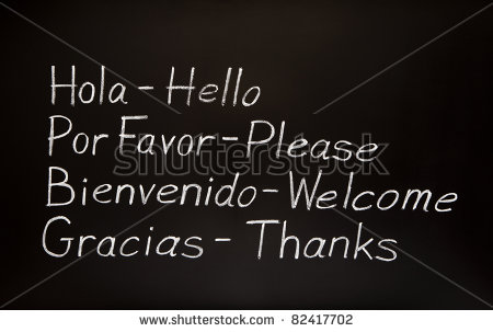 Blackboard With Spanish Words And Their English Translations    Stock
