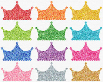 Glitter Crown Clip Art Digital Crown Clipart Princess Party Pink