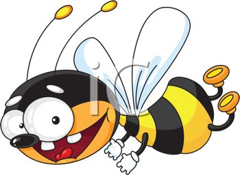 Honeybee Flying With A Big Smile In A Vector Clip Art Illustration