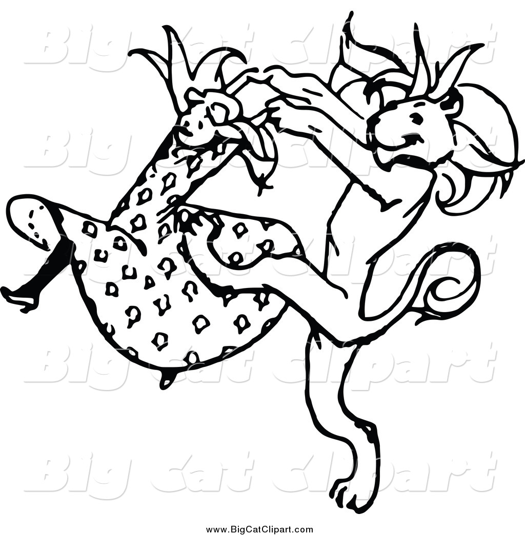 Larger Preview  Big Cat Vector Clipart Of A Black And White Dancing
