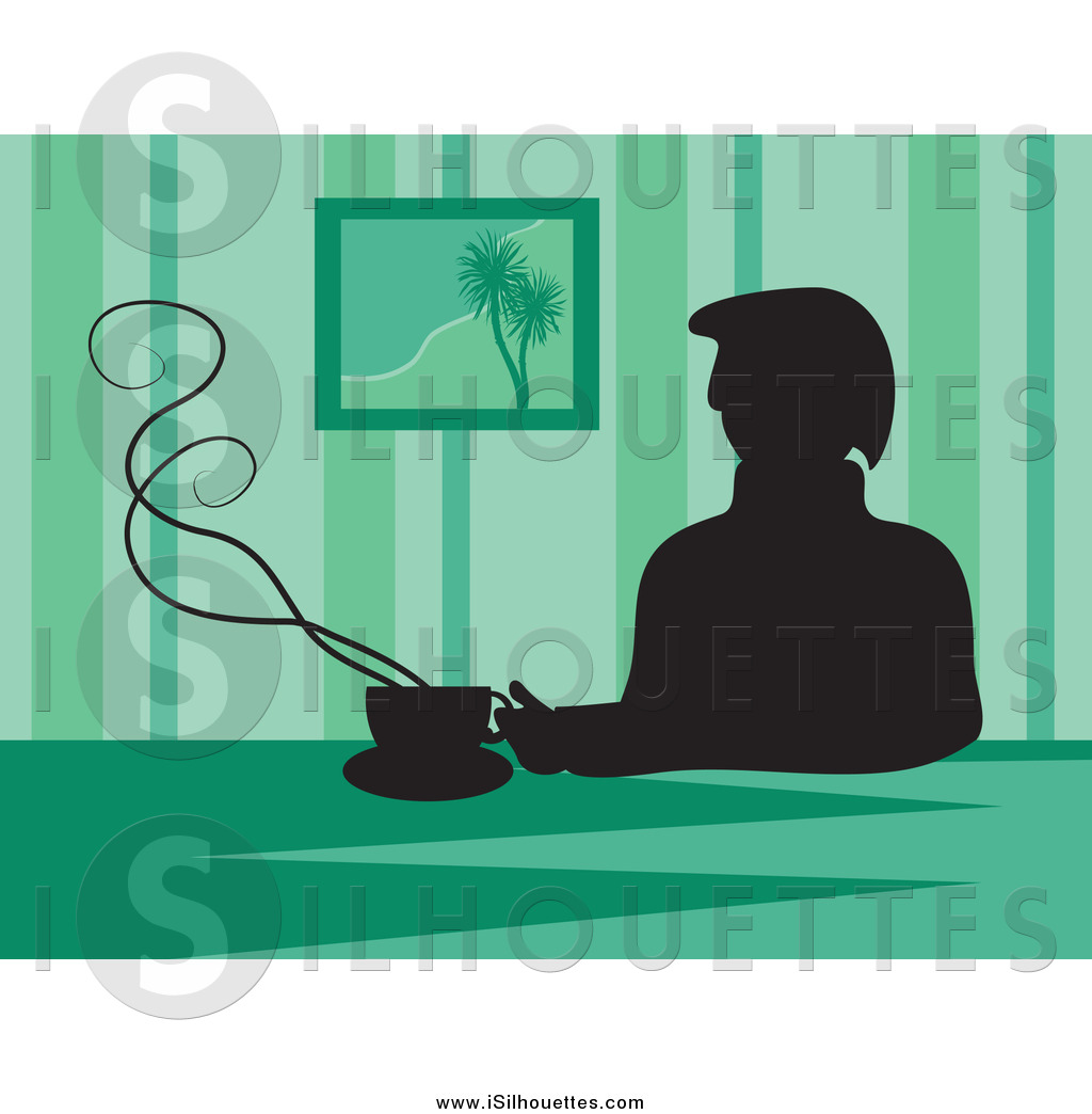 Larger Preview  Clipart Of A Silhouetted Man Drinking Coffee Against