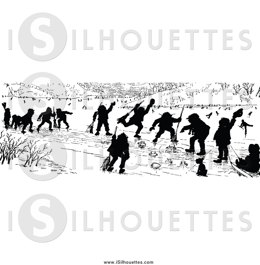 Larger Preview  Clipart Of Silhouetted Children Curling By Prawny