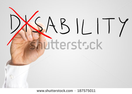 Overcoming A Disability Concept With A Man Writing The Word Disability