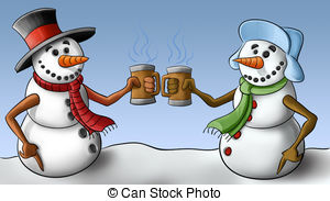 Two Snowmen Drinking And Smiley To Each Other