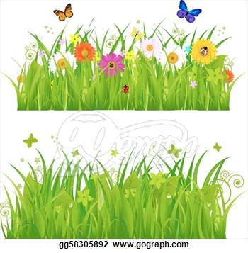 Vector Illustration   Green Grass With Flowers And Insects  Stock Clip