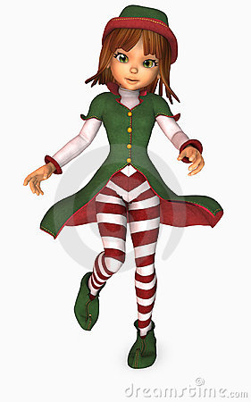 3d Illustration Of Toon Girl Dressed As An Elf For Christmas