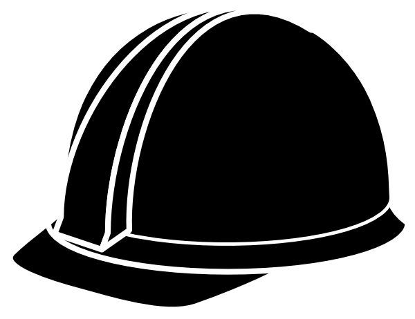 Hard Hat Black And White Clipart - Clipart Kid