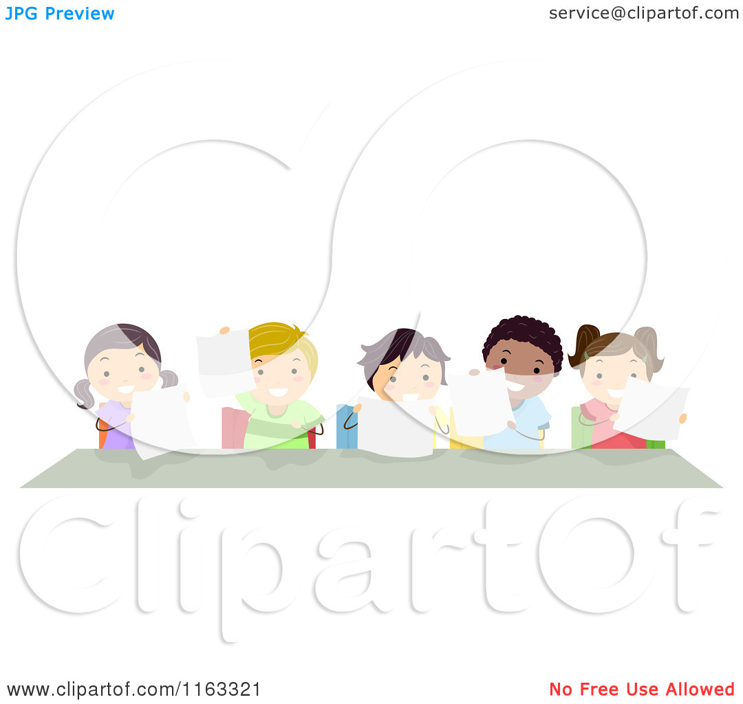 cartoon of happy diverse students holding papers at a desk