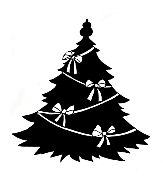 Christmas Silhouettes Black Christmas Tree With White Ribbons Jpg