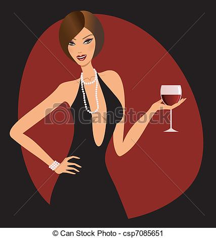 Clip Art Of Red Wine   A Beautiful Woman Holding A Glass Of Red Wine