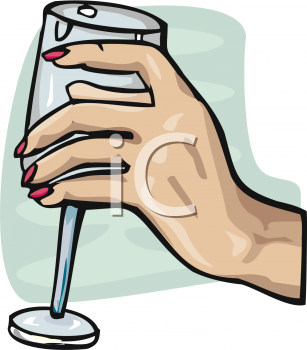Hand Holding A Wine Glass   Royalty Free Clipart Image