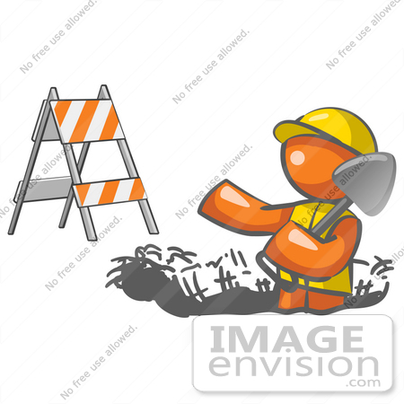 Hardhat Digging In The Road At A Construction Site By Jester Arts