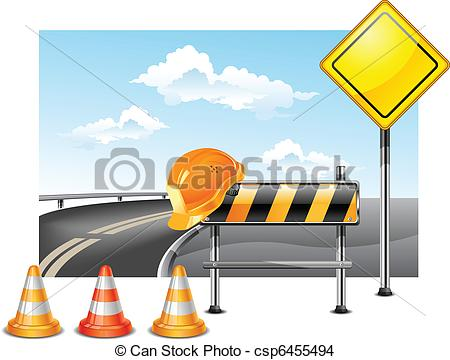 Highway Construction Clipart Vector   Road Construction
