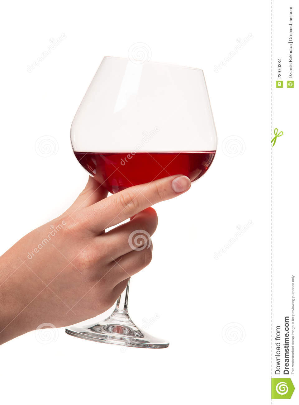 Human Hand With A Glass Of Wine  White Background  Studio Shot