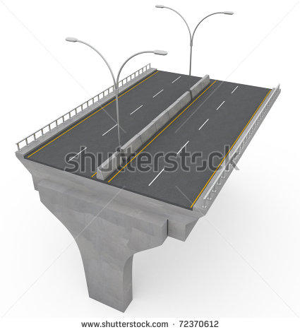 New Highway Bridge Under Construction   3d Illustration   72370612