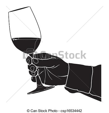 Of Wine Silhouet   Hand Holding Glass Of    Csp16534442   Search Clip