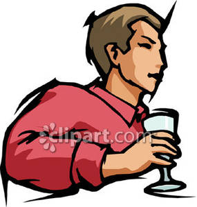 Person Holding Wine Glass   Royalty Free Clipart Picture