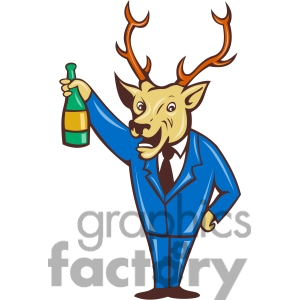 Royalty Free Deer Holding Wine Bottle Clipart Image Picture Art