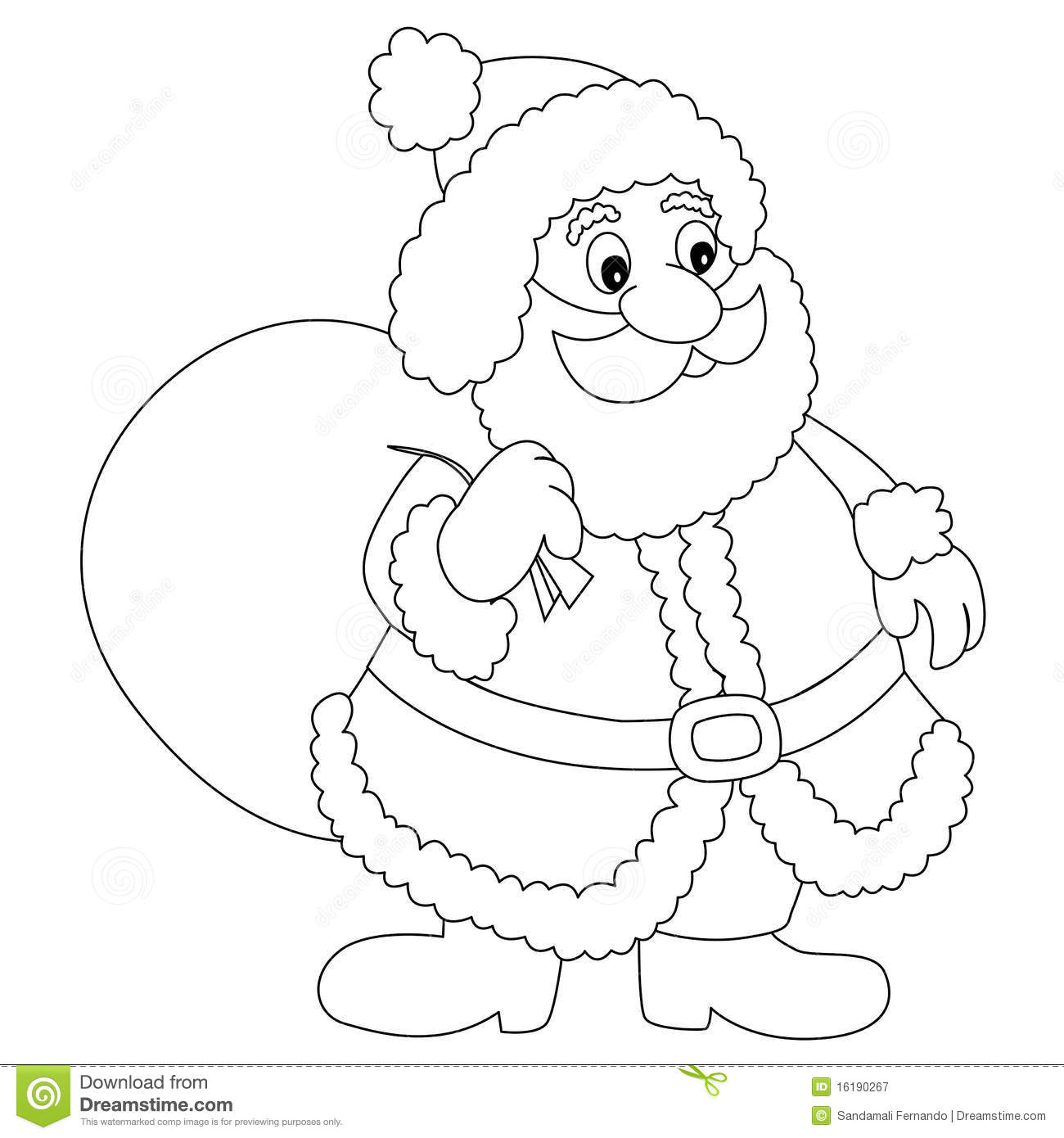 Santa Claus Illustration Clipart With Gift Bag For Coloring Books