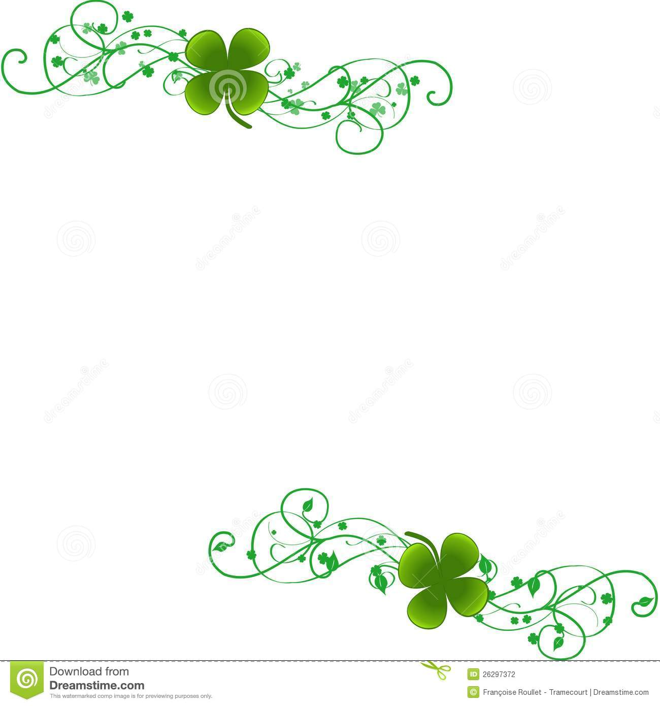 White Background With Four Leaf Clovers On Big Green Decorative